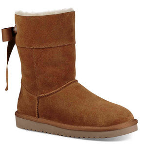 UGG KOOLABURRA SHORT RIBBON BOW SUEDE BOOTS